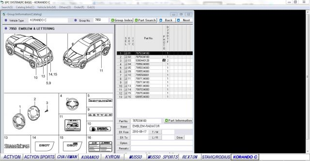 SsangYong 2013 Parts manual