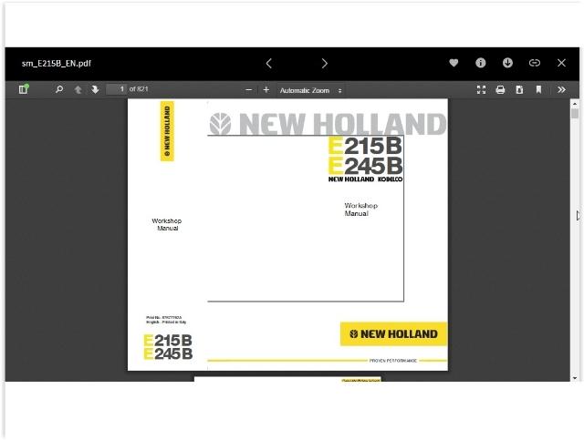 Manual de serviço New Holland E215B e E245B
