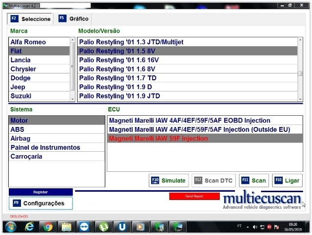 Sistema de diagnóstico Fiat MultiScan 4.2