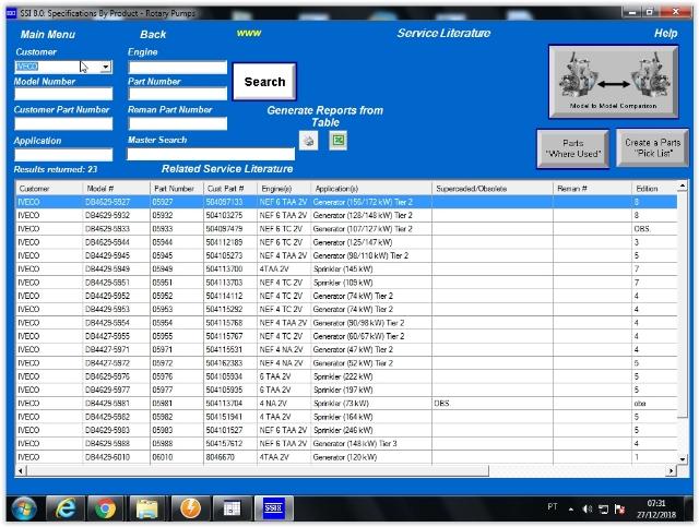 Catálogo de peças, Planos de teste, calibração de dados STANADYNE SSI8