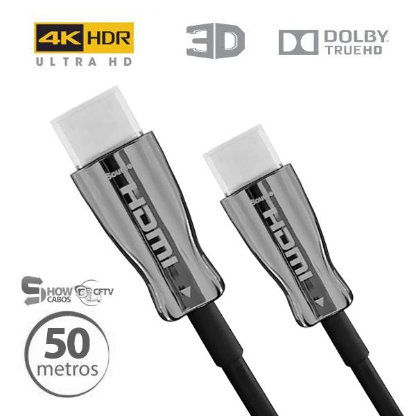 Cabo Hdmi 2.0 4k Fibra Óptica 19 Pinos UltraHD 50 Metros -CHF4K-50