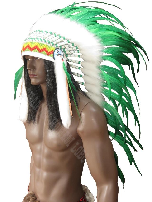 Cocar Indígena Americano Penacho Longo Penas Verde (1003)
