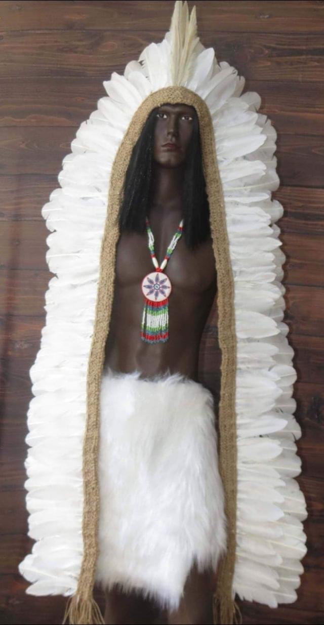 Cocar Indígena Cacique Longo Pena Branca