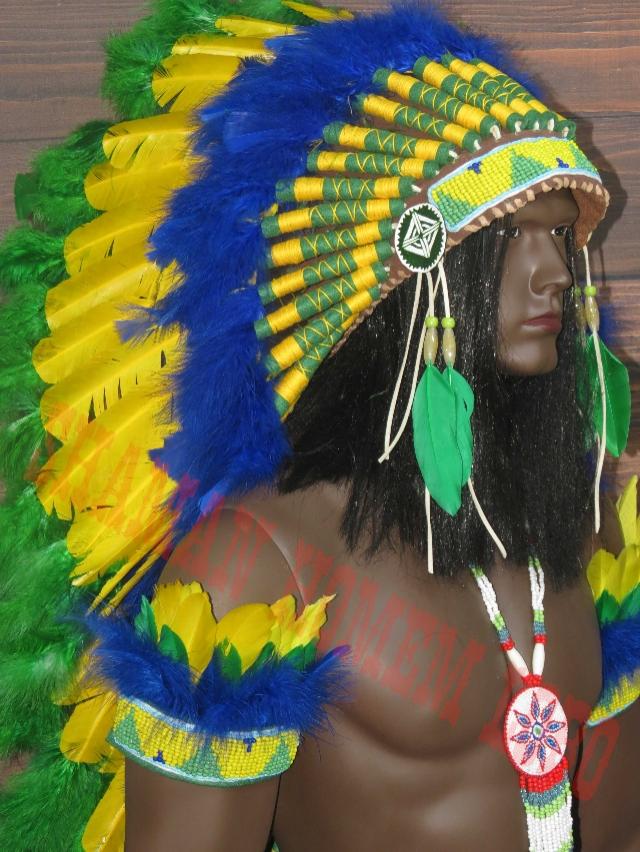 Cocar Indigena Americano Longo Native (1500)