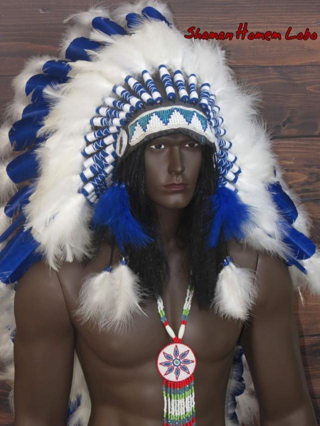 Cocar Indigena Americano Azul Blue Sky (1501)
