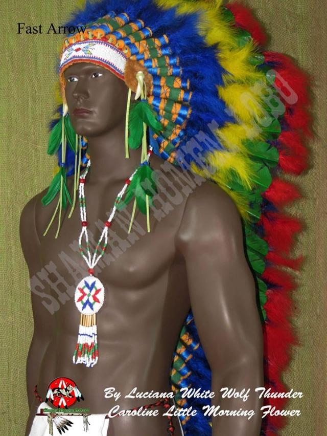 Cocar Indigena Longo Penacho Umbanda 1,40 cm (1547)