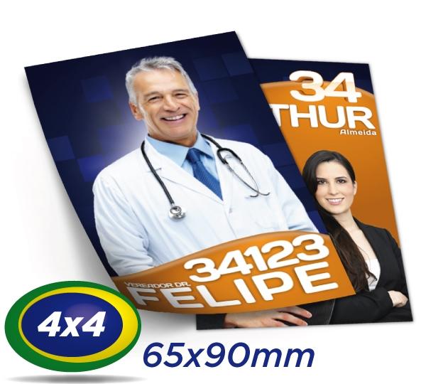 e) 300.000 Santinhos 6,5x9cm Papel LWC 60g Cor 4x4 Produção 3 dias úteis
