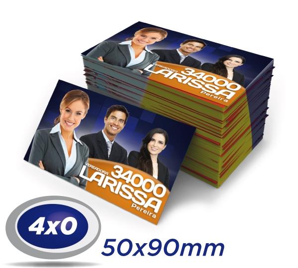 50.000 Cartões de Visita 5x9cm Papel Couche 250g 4x0 ou 4x1 cor UV Total Frente