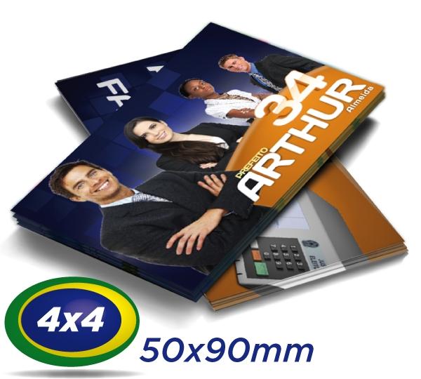100.000 Cartões de Visita 5x9cm Couche 250g 4x4 cor - Verniz UV Total Frente
