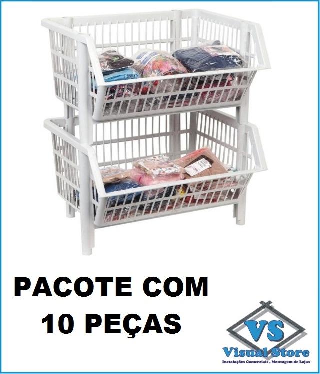 * CESTO PLÁSTICO EMPILHÁVEL MÉDIO * PACOTE COM 10 PEÇAS * BRANCO?cache=2020-06-23