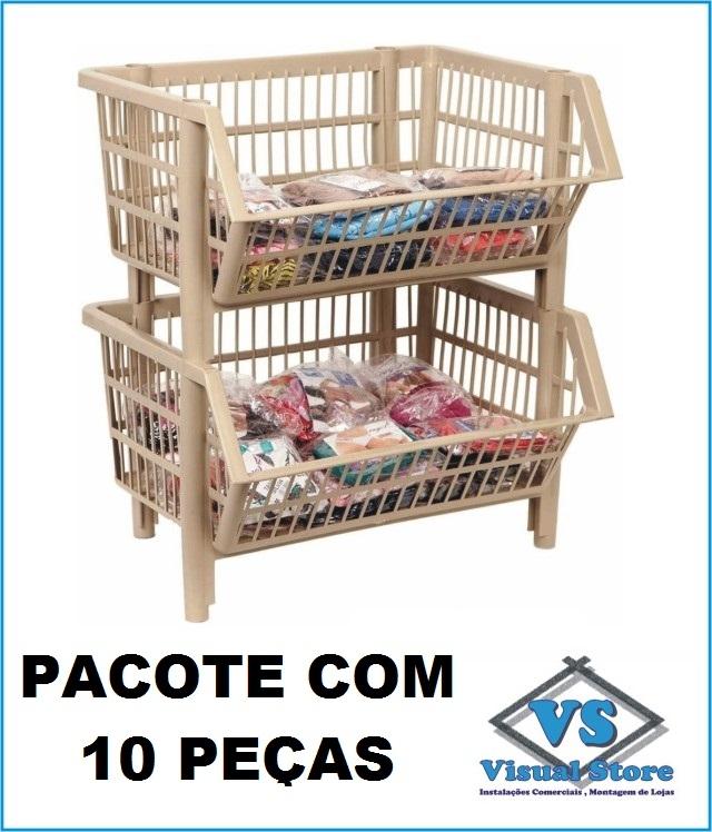 * CESTO PLÁSTICO EMPILHÁVEL PEQUENO * PACOTE COM 10 PEÇAS * BEGE?cache=2020-01-31
