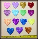 Coração gliterado adesivo(30unidades)