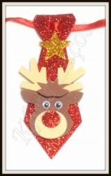 Gravata pet M gliterada com aplique de Natal
