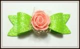 Laço M de eva gliterado com flor(12unidades)