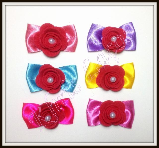 Laço especial para orelha ou topete rosa de eva(12unidades)