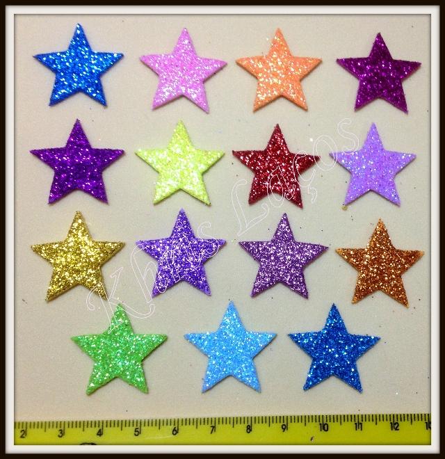 Estrela gliterada adesiva para cachorro