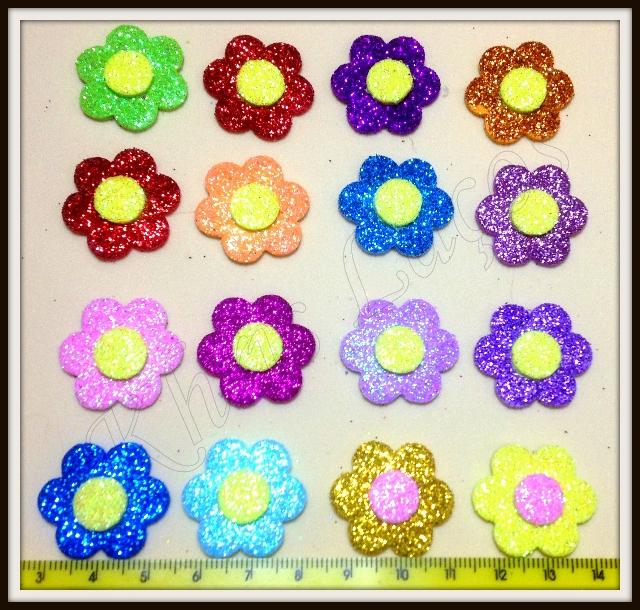 Flor gliterada adesivo(30unidades)