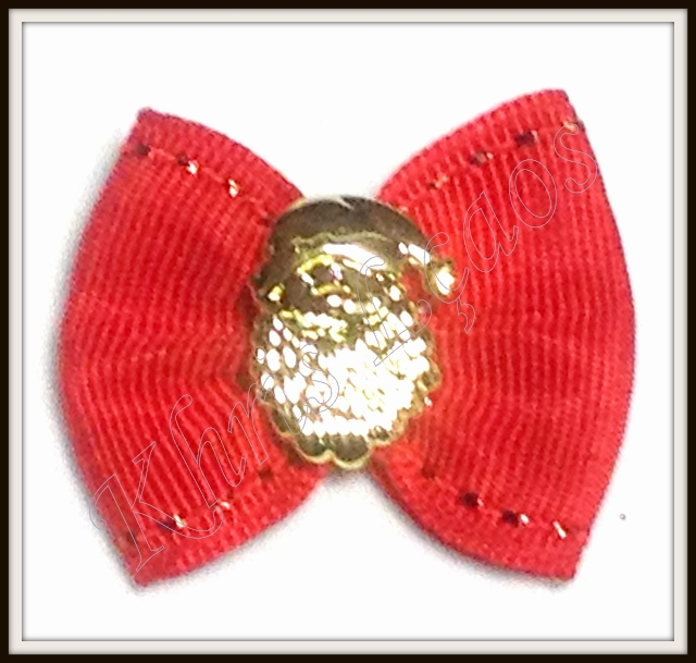 Laço grande de gorgurão com botão dourado(24unidades)