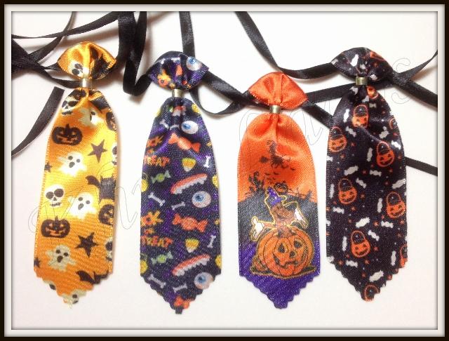 Gravata média estampada de cetim de Halloween(20unidades)