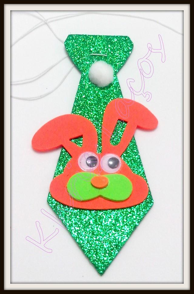 Gravata M de eva gliterado com coelho da Páscoa(20unidades)