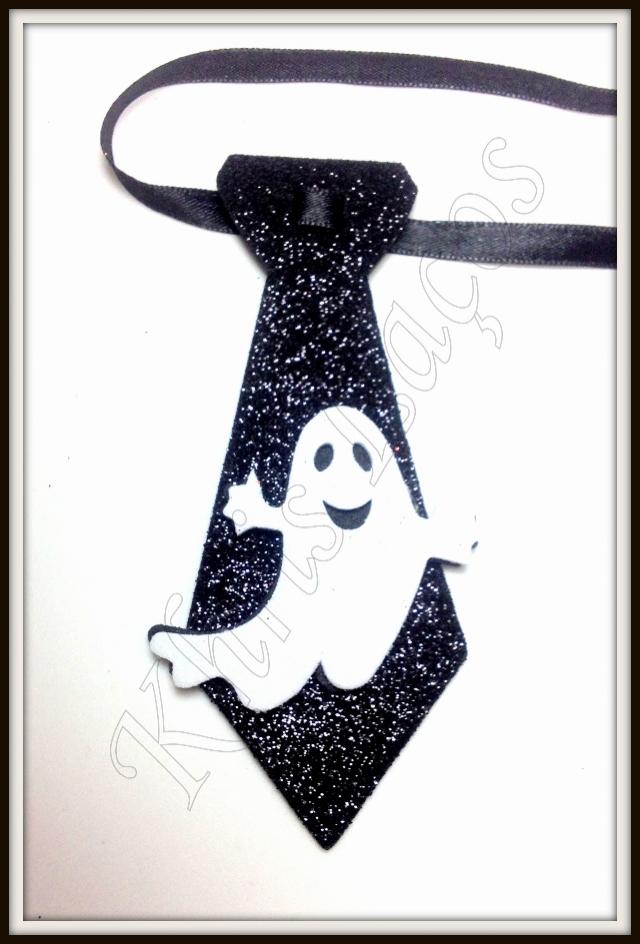 Gravata M gliterada com aplique de hallowen(20unidades)