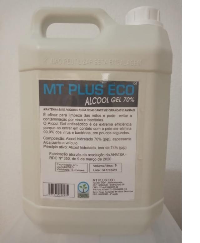 ÁLCOOL GEL 70% COM HIDRADANTE - ANTISSÉPTICO BACTERICIDA - 5 LITROS (GALÃO)