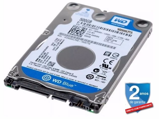 Hd Notebook 500gb Western Digital Blue Sata Slim 7mm WD5000LPCX