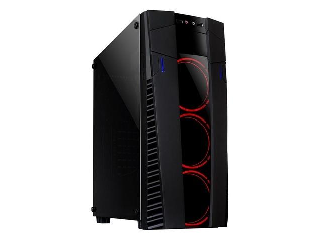 Gabinete Gamer Eclipse Preto com 3 coolers 120mm LED Vermelho