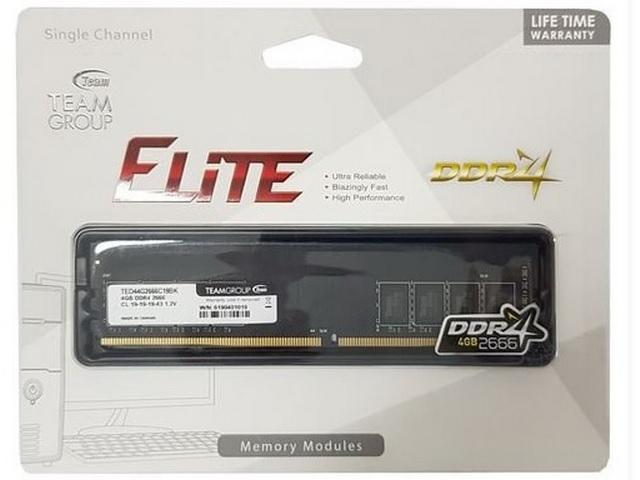 Memoria Desktop 4gb Ddr4 2666mhz Team Group Elite Plus - TED44G2666HC19BK