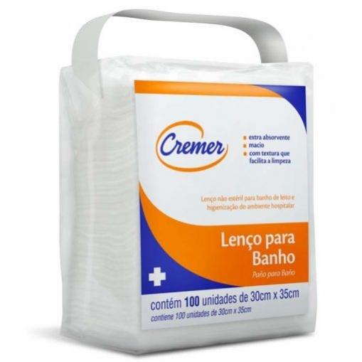 LENÇO PARA BANHO CREMER 30CM X 35CM COM 100 UNIDADES