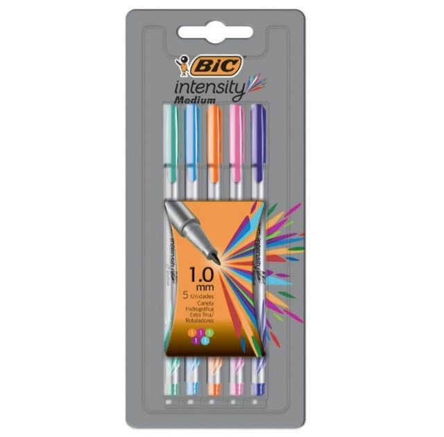 Caneta Bic Intensity Medium estojo com 5 cores