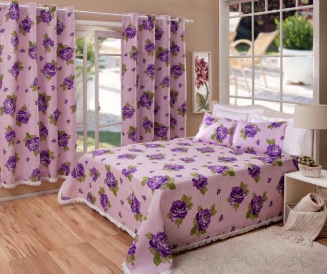 Kit casal cobre leito com 2 fronhas e cortina