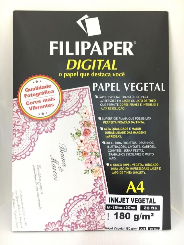 Papel Vegetal Filipaper InkJet A4 180 gramas - 20 Folhas