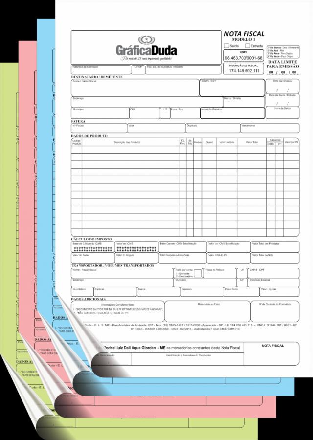 NF - Modelo 1 - 4 vias (MEI ou ME) - 01 talão - ANTES DE EFETUAR SUA COMPRA, CONSULTE INFORMAÇÕES.