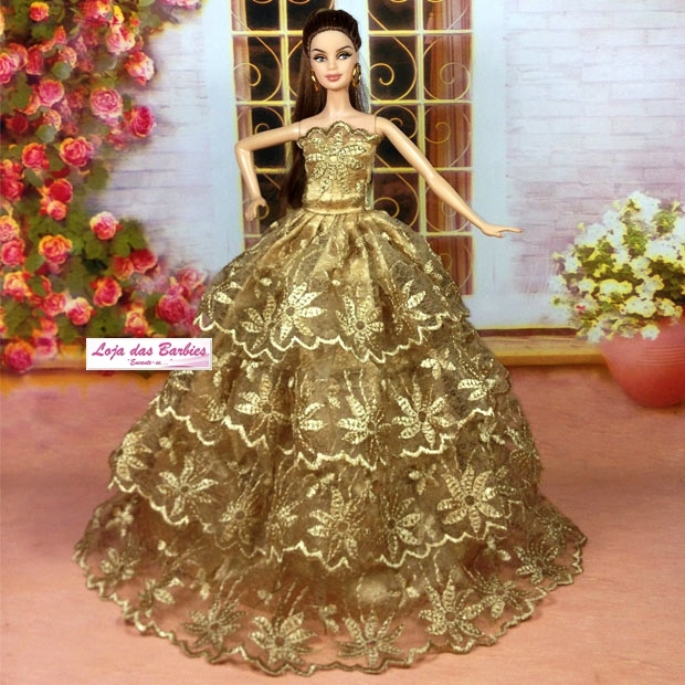 Coleção SUPER LUXO : Vestido Para Barbie + Par De Sapatinhos #14V