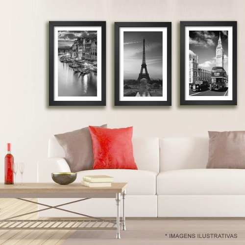 Kit 3 Quadros Paris Londres Veneza 144x68cm Grande Decoracao