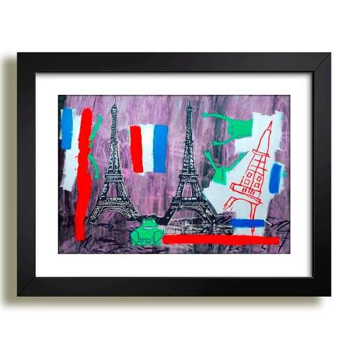 Kit 3 Quadros Basquiat  Arte Torre Eiffel Cj Decoracao Sala