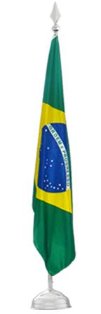 Kit de base e mastro em metal com bandeira do Brasil