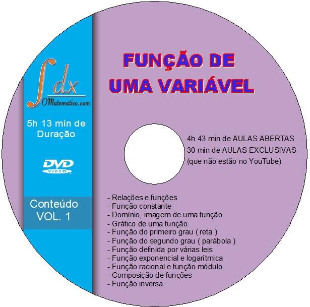 Dvd  Função de Uma Variável com 4h43min de aulas abertas
