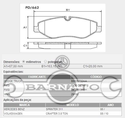 PASTILHA DE FREIO DIANTEIRA 163,1 X 66,7 X 19MM 0054205220