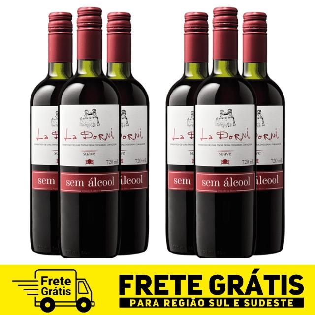 Caixa com 6 unidades do vinho tinto suave sem álcool