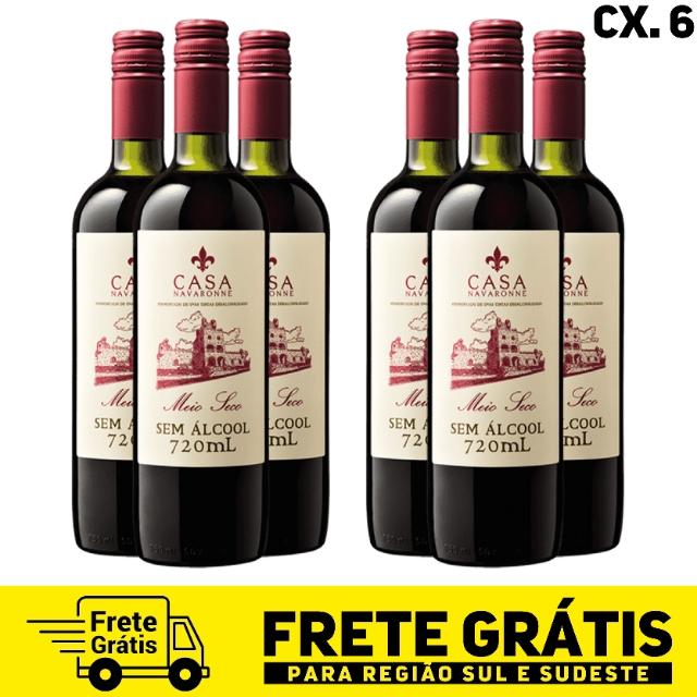 Caixa com 6 unidades do vinho Casa Navaronne meio seco sem álcool