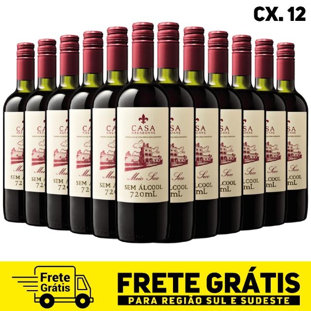 Caixa com 12 unidades do vinho meio seco Casa Navaronne sem álcool