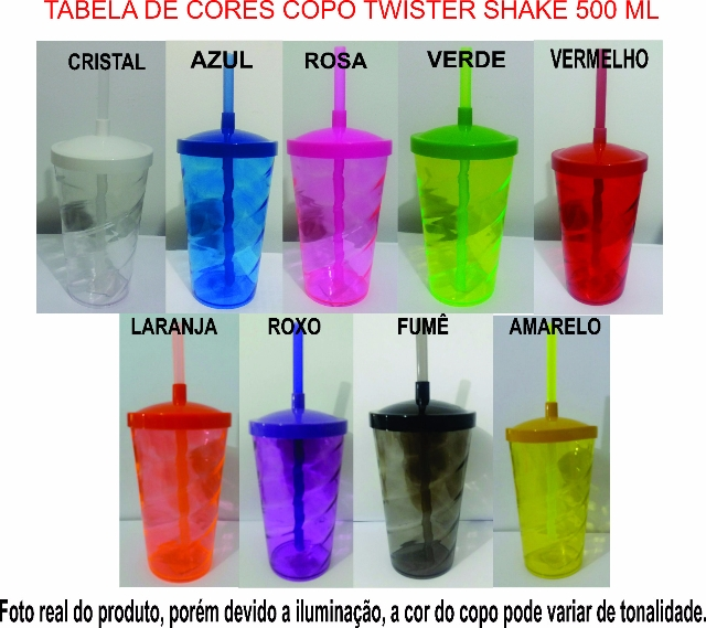 1. COPO TWISTER SHAKE TODAS AS CORES COM TAMPA E CANUDO 500 ML