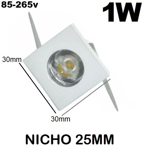 Mini Spot Dicroica Madeira Embut Led 1w Quad Frio 6500k 30mm