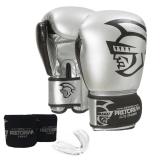 Kit Boxe Pretorian Elite - Luva Bucal e Bandagem - 12 Oz Prata