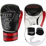 Kit Luva de Boxe/Muay Thai Pretorian FIRST 14 Oz + Bandagem + Protetor Bucal - Preto / Vermelho