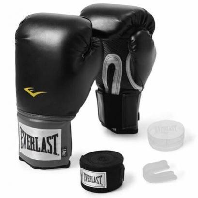 Kit Luva Boxe EVERLAST TRAINING Preta 12oz + Bucal + Bandagem