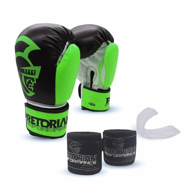 Kit Luva de Boxe/Muay Thai Pretorian Performance 10 OZ + Bandagem + Protetor Bucal - Preto e Verde Limão
