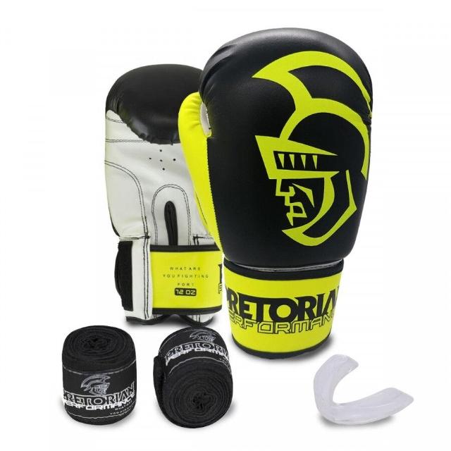 Kit Luva de Boxe/Muay Thai Pretorian Performance 10 OZ + Bandagem + Protetor Bucal - Preto e Amarelo
